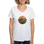 XmsFntsy/Horse (Ar-Br) Women's V-Neck T-Shirt