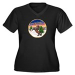 TakeOff2/Horse (Ar-Br) Women's Plus Size V-Neck Da