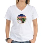 TakeOff2/Horse (Ar-Br) Women's V-Neck T-Shirt