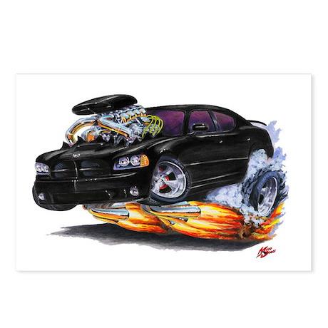 Dodge Charger Black Car Postcards (Package of 8)