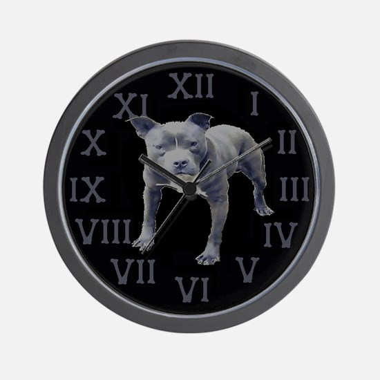 Skull Kennel Pit Bull and Crossbones Wall Clock