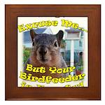 Squirrel Your Birdfeer Is Empty L Framed Tile