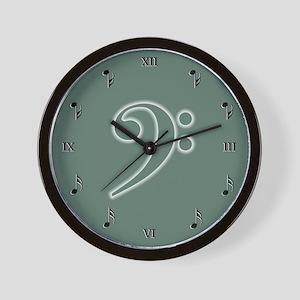 Sage Bass Clef Wall Clock