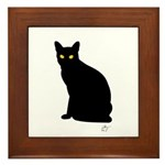 Kitty Kind Black Cat Silhouette Framed Tile