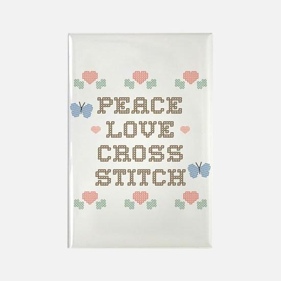 Peace Love Cross Stitch Rectangle Magnet