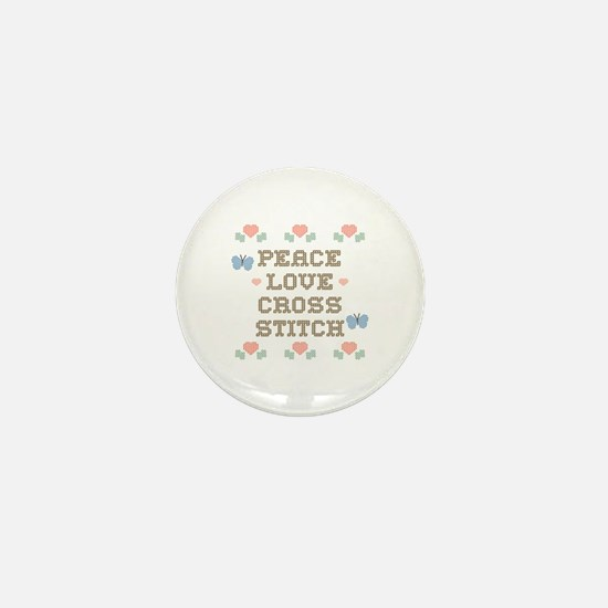 Peace Love Cross Stitch Mini Button