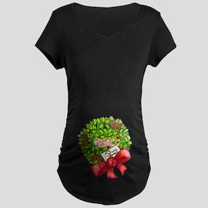 Christmas Wreath Maternity Dark T-Shirt