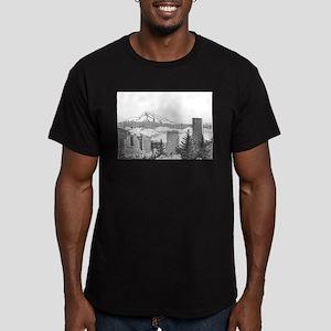 Portland/Mt. Hood Men's Fitted T-Shirt (dark)