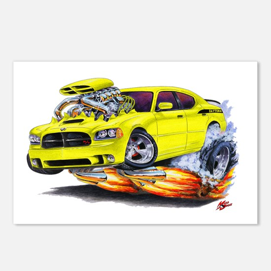 Charger Daytona Yellow Car Postcards (Package of 8