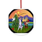 Whippet & Christmas Fantasy Ornament (Round)