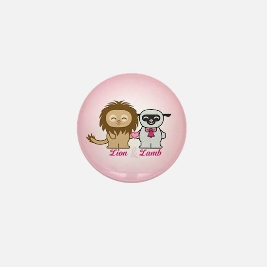 Lion and Lamb Mini Button