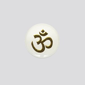 Golden Ohm & Buddha Quote Mini Button