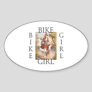 TOP Bike Girl Oval Sticker