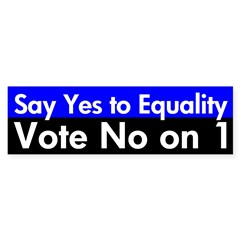 Vote No on 1 (Marriage Equality Bumper Sticker)