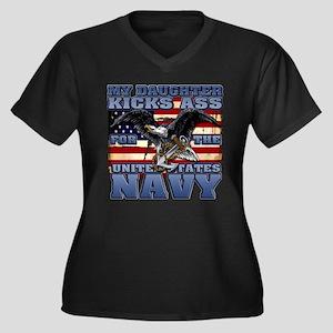 USN Daughter Women's Plus Size V-Neck Dark T-Shirt