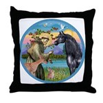St Francis/Horse (Ar-Blk) Throw Pillow