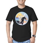 Clouds/Horse (Ar-Blk) Men's Fitted T-Shirt (dark)