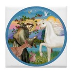 St Francis/Horse (Ar-W) Tile Coaster
