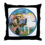 St Francis/Horse (Ar-W) Throw Pillow