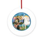 St Francis/Horse (Ar-W) Ornament (Round)