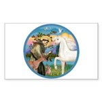 St Francis/Horse (Ar-W) Rectangle Sticker