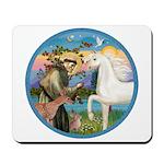 St Francis/Horse (Ar-W) Mousepad