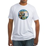 St Francis/Horse (Ar-W) Fitted T-Shirt