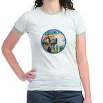 St Francis/Horse (Ar-W) Jr. Ringer T-Shirt
