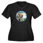 St Francis/Horse (Ar-W) Women's Plus Size V-Neck D