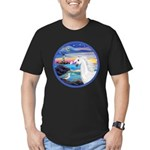 The Wave/Horse (Ar-W) Men's Fitted T-Shirt (dark)