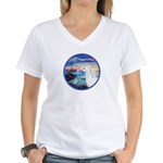 The Wave/Horse (Ar-W) Women's V-Neck T-Shirt