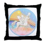Clouds/Horse (Ar-W) Throw Pillow