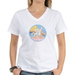 Clouds/Horse (Ar-W) Women's V-Neck T-Shirt