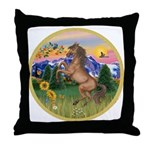 Mt Country/Horse (Ar-Brn) Throw Pillow