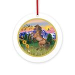 Mt Country/Horse (Ar-Brn) Ornament (Round)