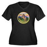 Mt Country/Horse (Ar-Brn) Women's Plus Size V-Neck