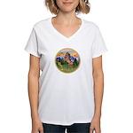 Mt Country/Horse (Ar-Brn) Women's V-Neck T-Shirt