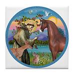 St Francis/Horse (Ar-Brn) Tile Coaster