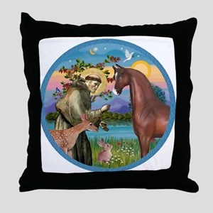 St Francis/Horse (Ar-Brn) Throw Pillow