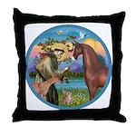 St Francis/Horse (Ar-Brn) Throw Pillow