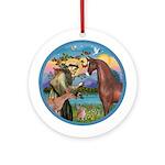 St Francis/Horse (Ar-Brn) Ornament (Round)