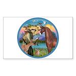 St Francis/Horse (Ar-Brn) Rectangle Sticker