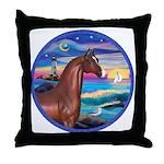 Wave/Horse( Ar-Brn) Throw Pillow
