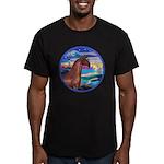 Wave/Horse( Ar-Brn) Men's Fitted T-Shirt (dark)