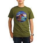 Wave/Horse( Ar-Brn) Organic Men's T-Shirt (dark)