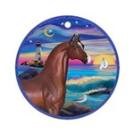 Wave/Horse( Ar-Brn) Ornament (Round)
