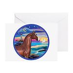 Wave/Horse( Ar-Brn) Greeting Cards (Pk of 10)