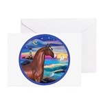 Wave/Horse( Ar-Brn) Greeting Cards (Pk of 20)