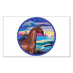 Wave/Horse( Ar-Brn) Rectangle Sticker