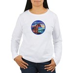 Wave/Horse( Ar-Brn) Women's Long Sleeve T-Shirt